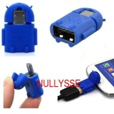 ROBOT ANDROID-Adaptateur OTG Micro USB mâle vers USB Femelle-BLEU-VENDEUR FRANCA