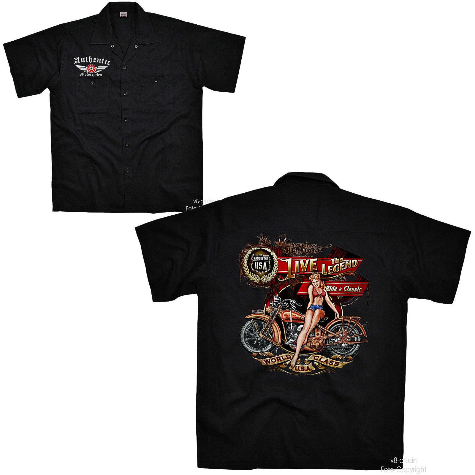 BIKER VINTAGE BIKE BIKE BIKE pinup Oldtimer Officina Worker-Shirt Custom Camicia  4314 760bd7