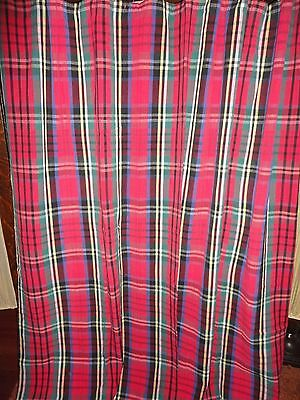 PARK B. SMITH DONEGAL RED GREEN YELLOW PLAID TARTAN FABRIC SHOWER CURTAIN 70X69