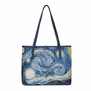 Signare-Van-Gogh-Starry-Night-Tapestry-Tote-Bag-with-Strap-Navy-Polyester