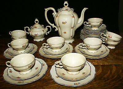 Heinrich & Co Bavarian China * 34 Piece Coffee Set * Cups Saucers Plates
