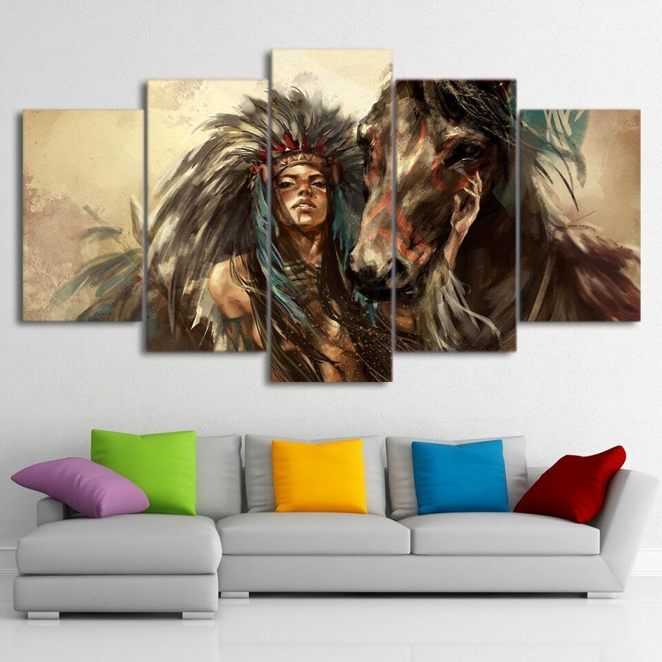 Native American Mädchen with Horse 5 Pcs Canvas Wand Decorating Home Decor Poster