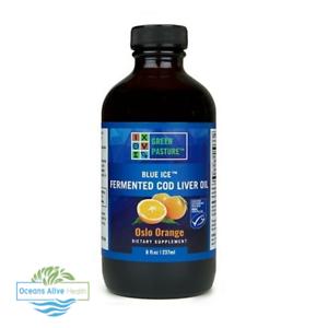 Blau-Eis-fermentierte-Lebertran-Oslo-orange-gruene-Weide-237ml-Omega-3