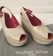 Auth Stephane Kelian Cream Oat Red Leather Wedge Shoes Open Toe SZ 38 US 8