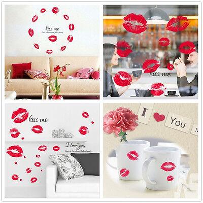 25X Valentine's Day Kiss Lips Stickers Smooch Love Shop Window Wine Glass Decals