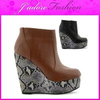NEW LADIES HIGH HEEL WEDGE SNAKE SKIN ROUND TOE ZIP UP ANKLE BOOTS SIZES UK 3-8