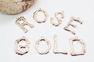 Initial Charms Rose Gold Plated Bamboo Letter Charms Letter Pendant Necklace Excellent Quality In