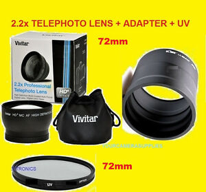 2-2x-TELEPHOTO-LENS-72mm-UV-FILTER-ADAPTER-FOR-CAMERA-NIKON-COOPIX-P600-P610-72