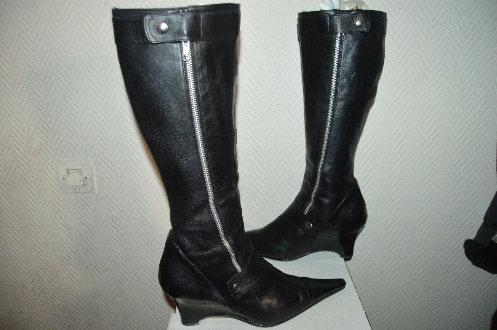 CHAUSSURE BOTTE REQINS CUIR size 40 LEATHER SHOES BOOTS BOTAS STIVALI