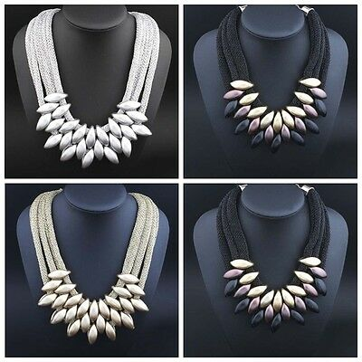 Lady Fashion Jewelry Crystal Chunky Statement Bib Pendant Chain Choker Necklace