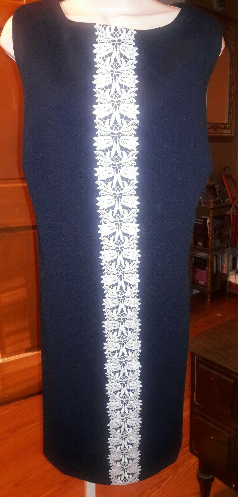 Chaps Woman Navy with White Lace Trim Dress Size 22W  NWT  FREE SHIPPING