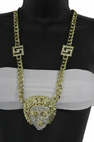 Women Fashion Long Necklace Gold Metal Chains Silver Medusa Goddess Head Charm