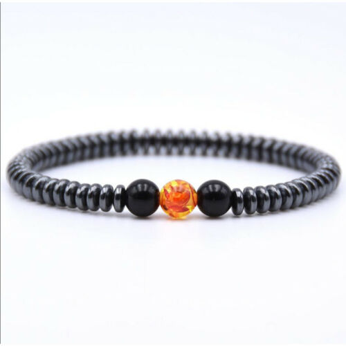 Fashion Rock Lava Stone Silver Buddha Beaded Round Charm Bracelet For Women Men