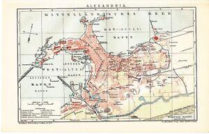 1899 Egypt Alexandria City Plan Antique Map Ebay