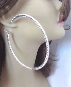 Image Is Loading Crystal Hoop Earrings Large 4 Inch Plated Silver