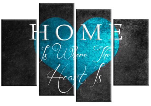 HOME IS WHERE THE HEART IS TURQUOISE GREY CANVAS PICTURE 4 PANEL WALL ART 100cm