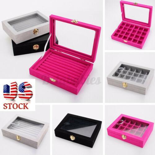 Velvet Glass Jewelry Case Ring Organizer Holder Display Box Earring Storage Xmas