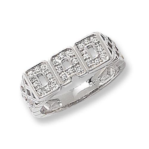 Claro de plata esterlina 925 Cubic Zirconia Anillo Caballeros Cesta de hombro Papá