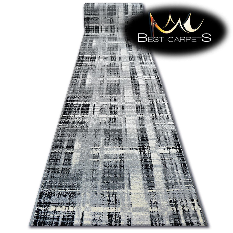 Modern Hall Runner Funky Haut Haut Haut Lit Gris à Carreaux Largeur 80 - 100 cm long Agnella | Divers Les Types Et Les Styles  d25152