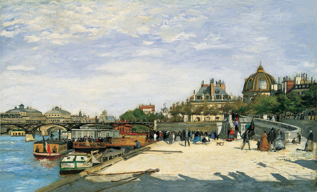 THE BRIDGE OF ARTS PARIS PONT DES ARTS SEINE RIVER 1867 PAINTING BY REschwarz REPRO