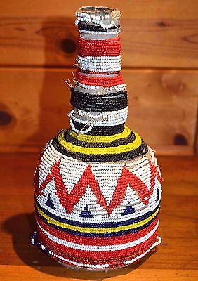 Antique African Yoruba Tribe Beaded Glass Bottle Collected From Nigeria, Africa