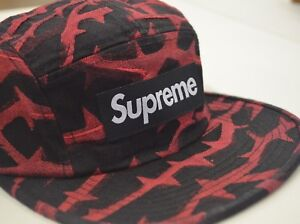 218cd242 Details about SUPREME Thorn Camp Cap Black Red box logo F/W 18