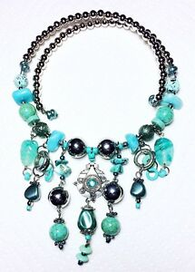 Bib-Style-Statement-Necklace-On-Wire-Various-Turquoise-And-Silver-Color-Beads