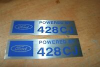 Ford Powered By 428cj 428 Cobra Jet Valve Cover Decals Pair Blue Silver 2x