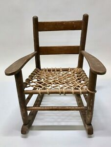 Vintage-Antique-Mid-Century-Woven-Rope-Big-Child-039-s-Rocking-Chair