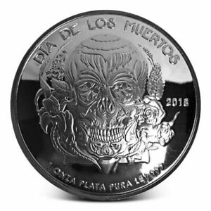2018-1-Oz-Proof-Dia-De-Los-Muertos-Mexico-Day-Of-The-Dead-Skull-Domed-Silver