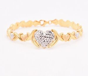 Hearts-Kisses-Stampato-Bracelet-Two-Tone-14K-Yellow-White-Gold-Clad-Silver-925