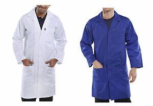 f7dd219c0603 Das Bild wird geladen Berufsmantel-44-70-blau-weiss-Mantel-Kittel- Arbeitskittel-