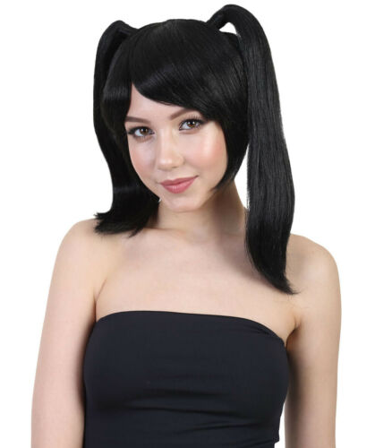 Black Cartoon Ponytail Wig for Cospaly Asian Japanese Anime School Idol HW-1685