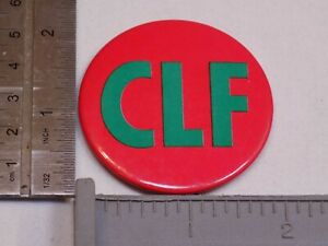 CLF Green Pink Pin Vintage Old Button Round Pinback Christian Leaders Fellowship