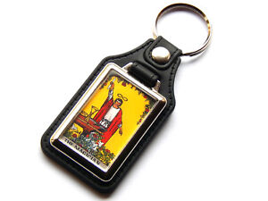 Details about THE MAGICIAN TAROT CARD Major Arcana Rider Waite Quality  Leather Chrome Keyring
