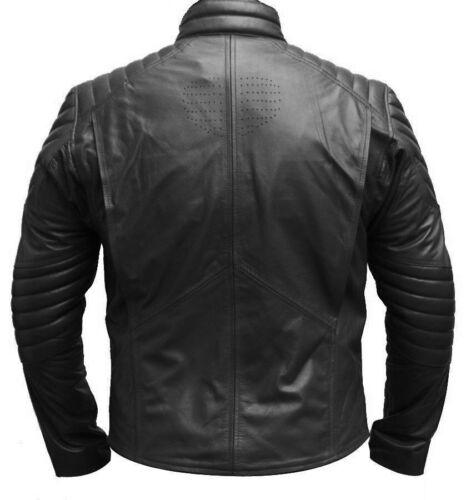 Superman Smallville Motorcycle Man of Steel Shield Genuine Black Leather Jacket