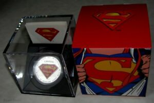 Royal-Canadian-Mint-75th-Anni-1-oz-20-Fine-Silver-Coin-Superman-S-shield-2013