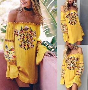 AU-Women-Floral-Boho-Sundress-Summer-Holiday-Beach-Party-Strappy-Maxi-Mini-Dress