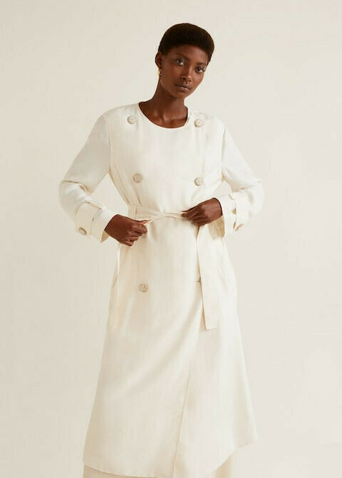 BNWT MANGO OFF-WHITE DOUBLE BREASTED LYOCELL LONG TRENCH SIZE S RRP