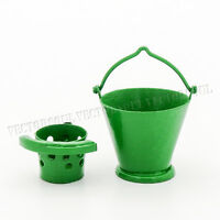 1:12 Mop Bucket Miniature Metal Green Cleaning Set Housework Tool Dollhouse