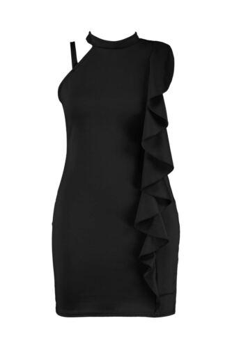 Ladies Sleeveless Poppy Ruffle Detail High Neck Bodycon Women Dress Plus Size