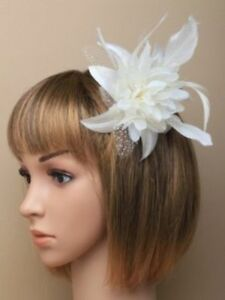 Off white fascinator flower hair comb weddings races prom ebay image is loading off white fascinator flower hair comb weddings races mightylinksfo