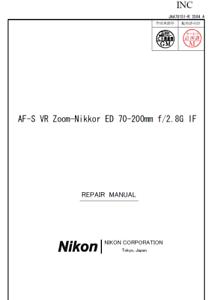Nikon-Nikkor-AF-S-70-200mm-f-2-8-G-ED-IF-VR-Service-Repair-Manual-Parts-List