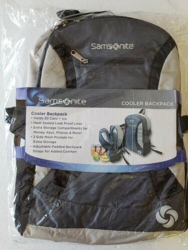 GRAY COOLER BACKPACK NWT SAMSONITE INSULATED HEAT SEALED LEAK PROOF 20 CANS