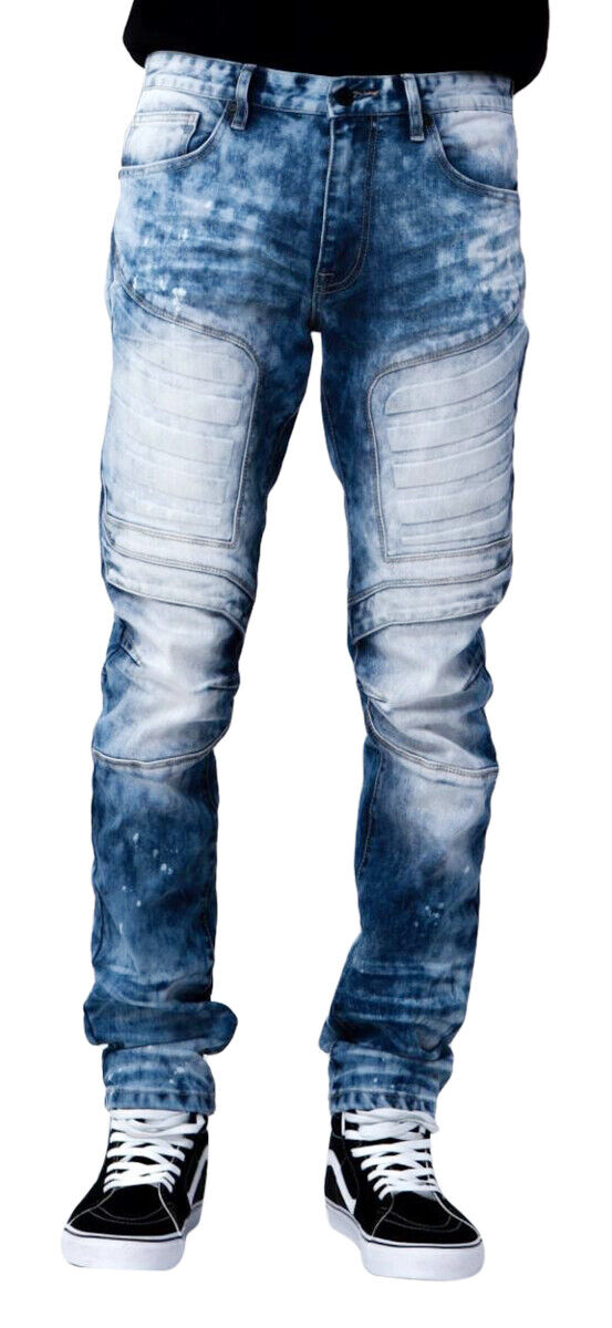 Smoke Rise Men's Slim Embossed Moto Denim Jean