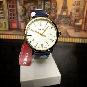 TIMEX-Watch-Originals-Dots-38mm-Leather-Strap-Navy-TW2P63500ZR-Brand-New-Box