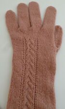 Cashmere long cable gloves dusty pink ladies womens NEW wool made in Scotland