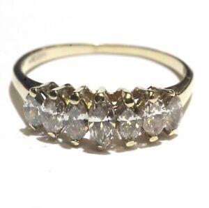 14k-yellow-gold-1-04ct-VS-Brown-diamond-marquise-anniversary-band-ring-2-2g