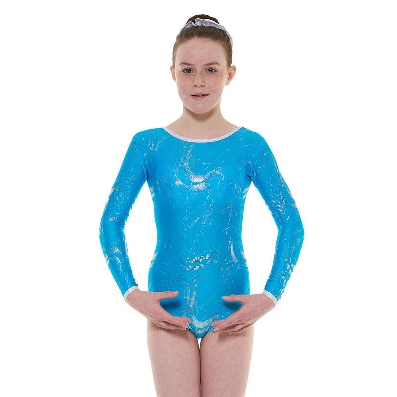 Kingfisher/silver long sleeve gymnastics leotard t&p gym/36 - size 0 - Age 4-5