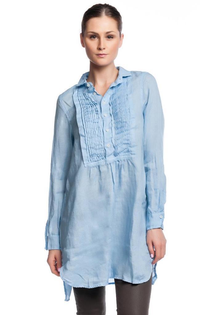 CP Shades Annette Tuxedo Tunic Sky pleaded bib peasant tux dress Linen Blau NEW